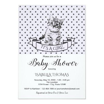 Purple Cute Kitten Baby Shower Invitation
