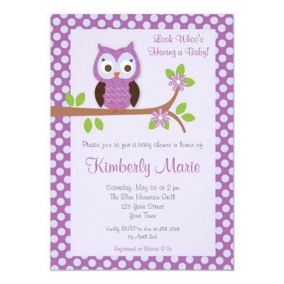 Purple Damask Owl Invitations