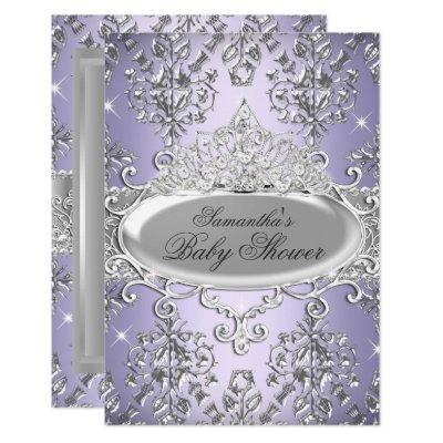 Purple Damask Tiara Princess Baby Shower Invite
