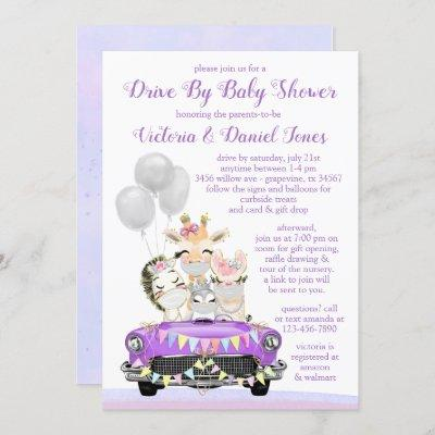 Purple Drive By Baby Shower Cute Animals in Car Invitation