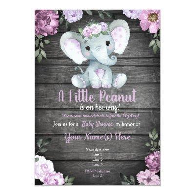 Purple Elephant Baby Shower invitation, rustic Invitation