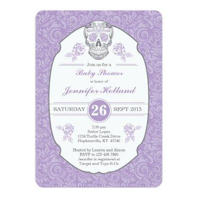 Purple Fancy Damask Skull Baby Shower Invitations