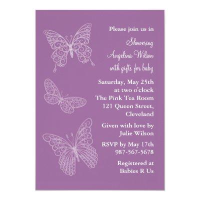Purple Filigree Butterflies Invitations