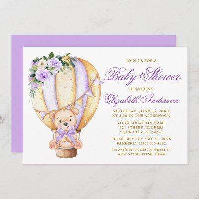 Purple Floral Air Balloon Teddy Bear Baby Shower Invitation