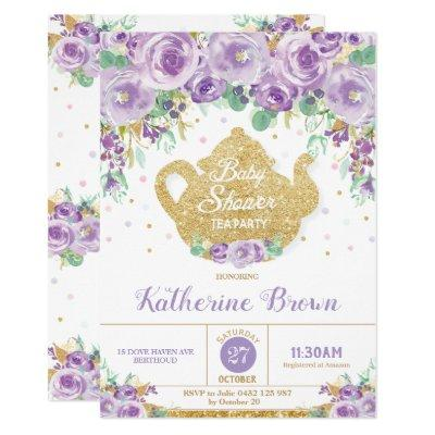 Purple Floral Baby Shower Tea Party Baby Girl Invitation
