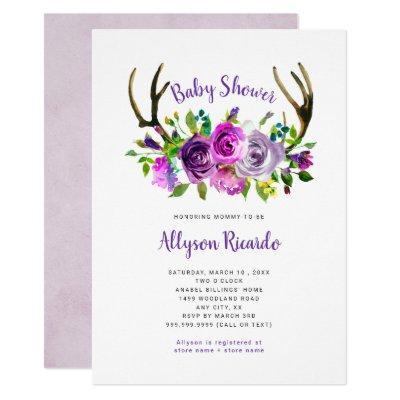 Purple Floral Boho Antlers Baby Shower Invitation