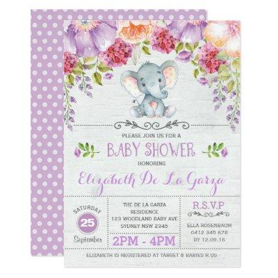 Purple Floral Elephant Baby Girl Shower Invitations