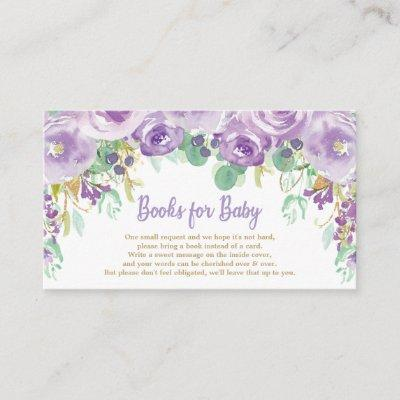 Purple Floral Flowers Baby Shower Bring a Book Enclosure Card