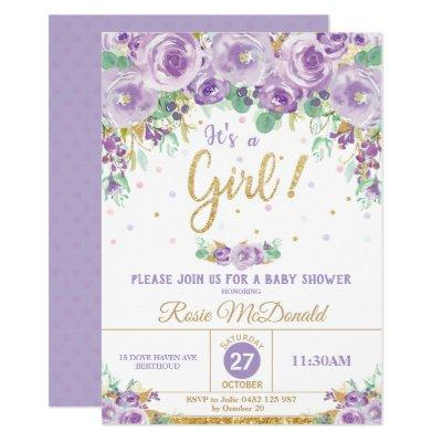 Purple Floral Flowers Baby Shower It's a Girl Invitation