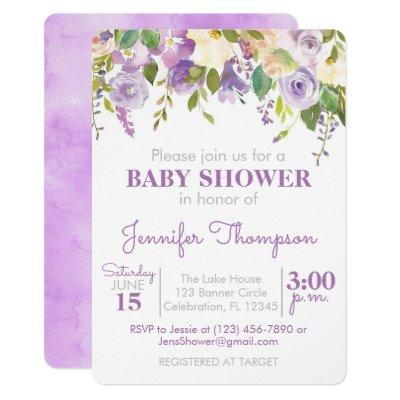 Purple Floral Girl Baby Shower Invitation