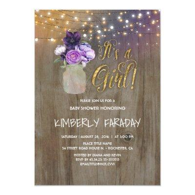 Purple Floral Mason Jar Rustic Invitations