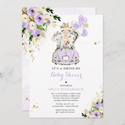 Purple Floral Safari Animals Drive By Baby Shower Invitation