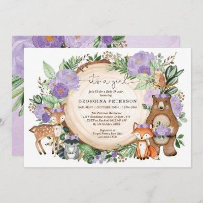 Purple Floral Woodland Forest Animals Baby Girl Invitation