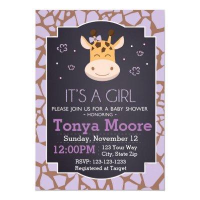 Purple Giraffe Baby Shower Invitation (girl)