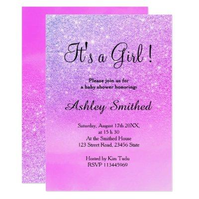 Purple glitter pink watercolor girl baby shower invitation