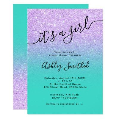 Purple glitter turquoise ombre script baby shower invitation
