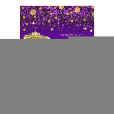 Purple Gold African American Prince Baby Shower Invitations