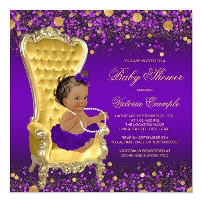 Purple Gold Chair Ethnic Ballerina Invitations
