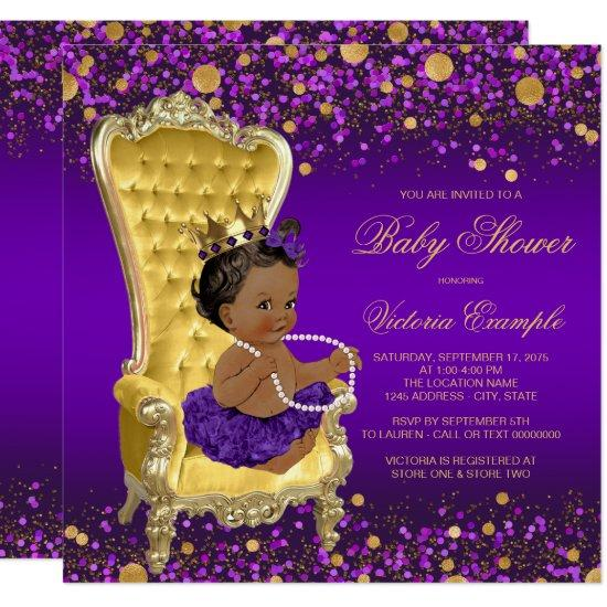 purple gold chair ethnic princess baby shower invitations - Baby Chair With Name