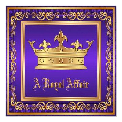Purple Gold Crown Royal Birthday Corporate Party Invitation