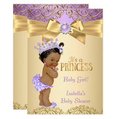 Purple Gold Damask Princess Baby Shower Ethnic Invitations