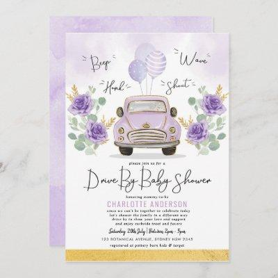 Purple Gold Floral Drive By Baby Shower Parade Invitation
