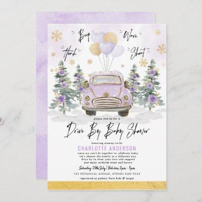 Purple Gold Floral Winter Drive By Baby Shower Invitation
