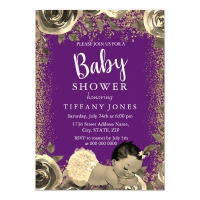 Purple & Gold Sparkle Glitter Baby Shower Invite
