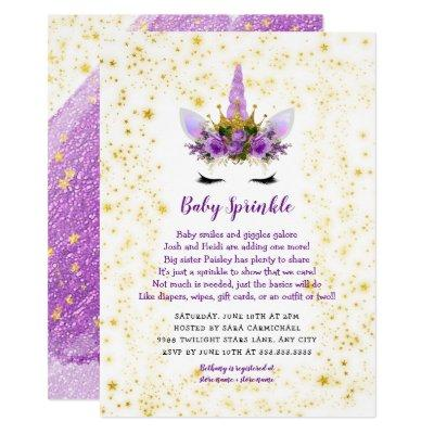 Purple Gold Unicorn Baby Sprinkle Invitation