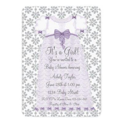 Purple Gray Damask Baby Girl Shower Invitations
