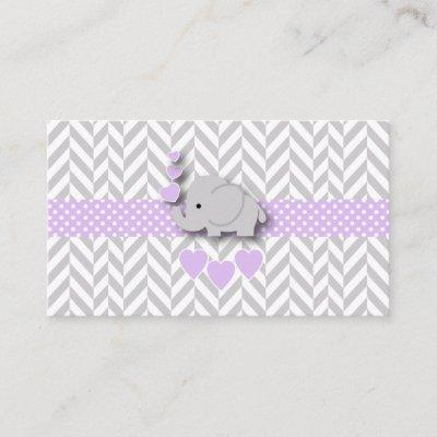 Purple Gray Elephant Baby Shower Diaper Raffle Enclosure Card