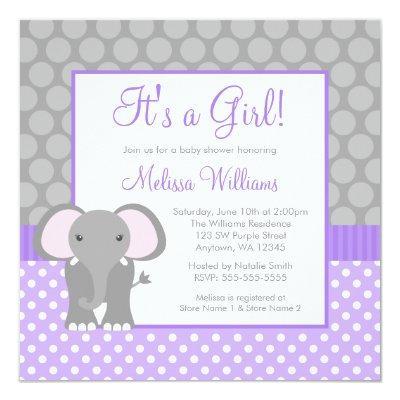 Purple Gray Elephant Polka Dot Girl
