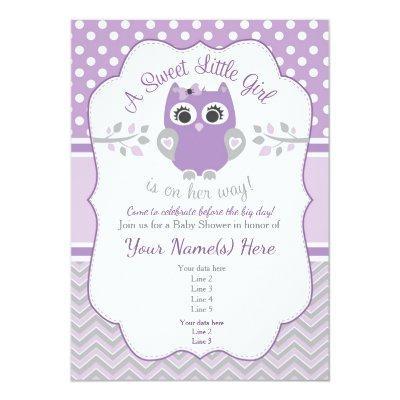 Purple Gray Little Owl Baby Shower Invitation