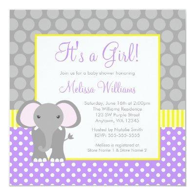 Purple Gray Yellow Elephant Girl