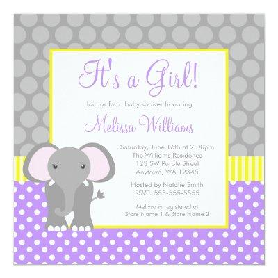Purple Gray Yellow Elephant Girl Baby Shower Invitation