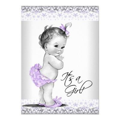 Purple Lavender and Gray Baby Girl Shower Invitations