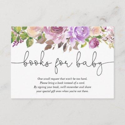 Purple lavender floral baby shower book request enclosure card