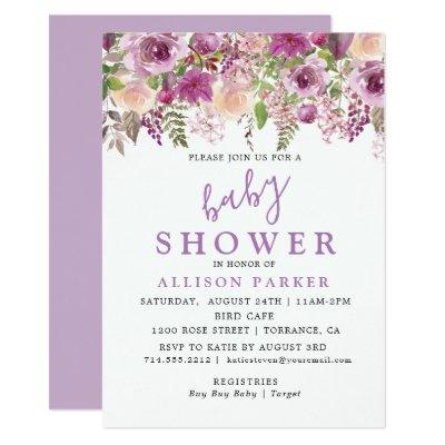 Purple Lavender Floral Baby Shower Invitations