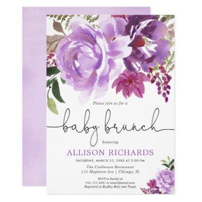 Purple lavender floral girl baby brunch shower invitation