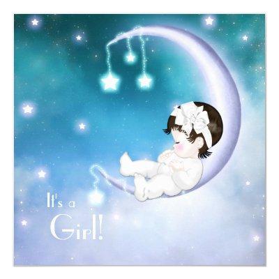 Purple Moon Baby Girl Shower Invitations