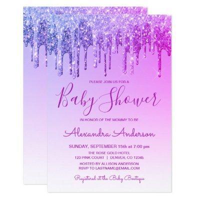 Purple Ombre Sparkle Glitter Baby Shower Invitation