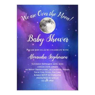 Purple Outer Space Stars Over the Moon Baby Shower Invitation