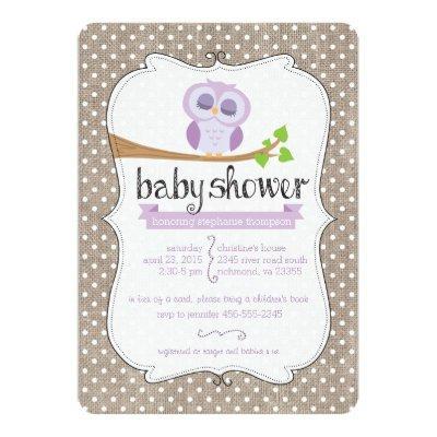 Purple Owl Burlap Dots Baby Shower Invitations