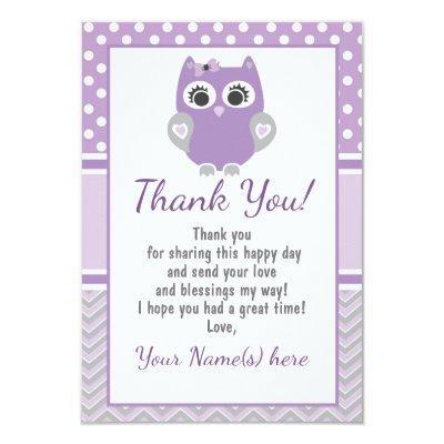 Purple OWL thank you card baby shower, birthday