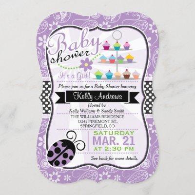 Purple Paisley Ladybug Theme Girl Baby Shower Invitation