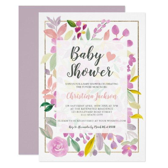 Purple pink floral watercolor gold baby shower invitation
