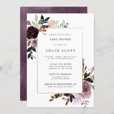 Purple Plum Mauve Pink Floral Baby Shower Invitation