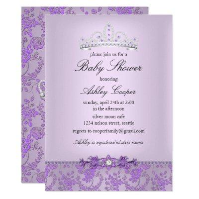 Purple Princess Baby Shower Tiara Invitations