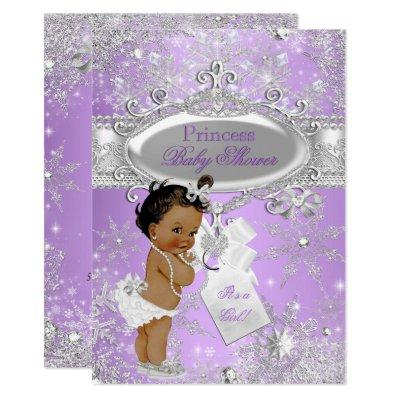 Purple Princess Winter Baby Shower Ethnic Invitations