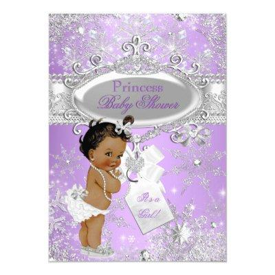 Purple Princess Winter Baby Shower Ethnic Invitations